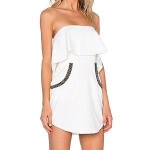 NBD Revolve • White Strapless Beaded Flutter Dress